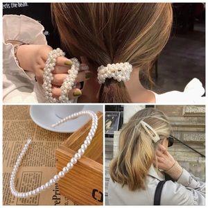 Accessories - Pearl hair band, hair pin and hair scrunchies set